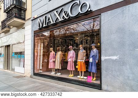Madrid, Spain - March 7, 2021: Fashion Storefront In Serrano Street. Salamanca District Is Well Know