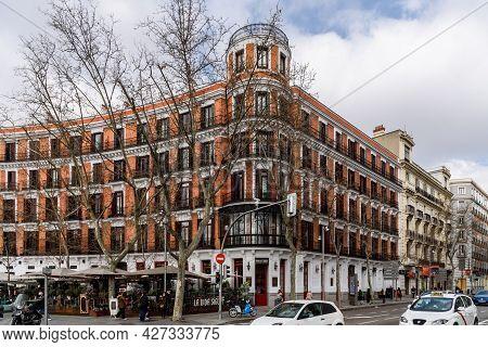 Madrid, Spain - March 7, 2021: Serrano Street In Salamanca District Near Plaza De La Independencia.