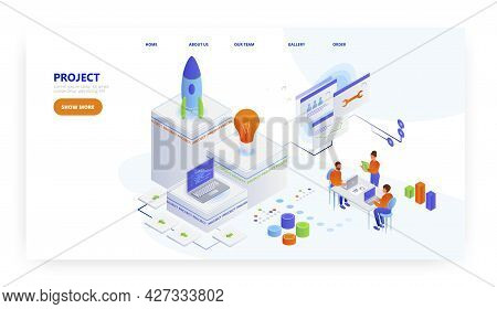 Project, Landing Page Design, Website Banner Vector Template. Innovative Business Project Startup.