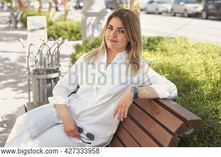 Urban Portrait Of Happy Young Blonde Woman 30-35 Years Old In White Stylish Casual Clothes, Sunglass