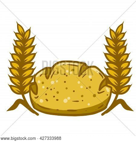 Ear Of Wheat And Bread. The Logo Of The Bakery. A Natural Product Made From Grain. Farm Food. Cartoo