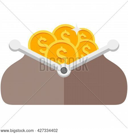 Purse With Cash Money Pile Vector Illustration On White