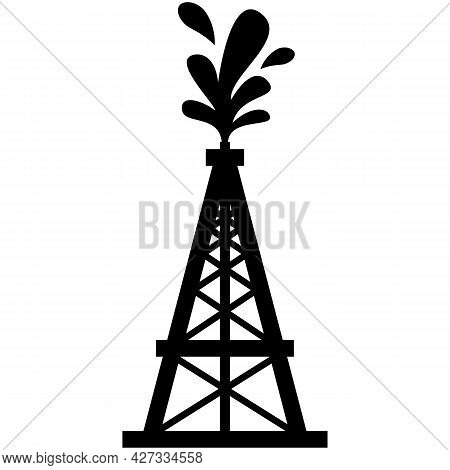Oil Rig Vector Gas Platform Industry Icon Silhouette