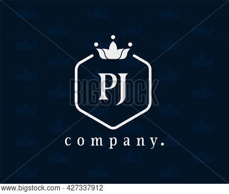 Creative Letter Pj, P And J Graceful Logo. Elegant Emblem And Beautiful Calligraphy. The Hexagonal V