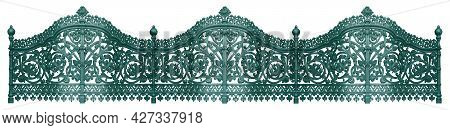 Forged Bronze Fence Isolated On White Background. Design Element With Clipping Path