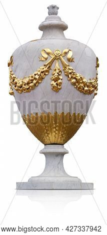 Antique Decorative Marble Vase With Golden Floral Decor Isolated On White Background. Design Element