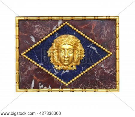 Golden Mask Of The Greek Goddess In The Old Palace Interior