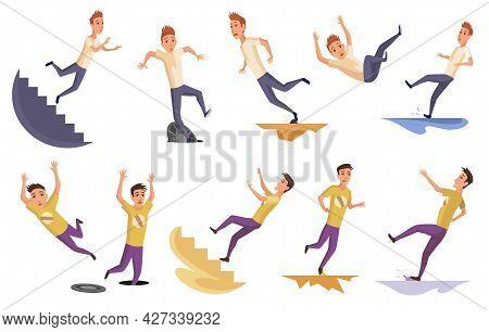 Set Of Falling Man. Falling Down People Because Of Stumbling, Slipping, Accident, Injury. Young Men