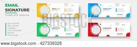 Corporate Modern Email Signature Design Template. Email Signature Template Design Set With Blue, Yel