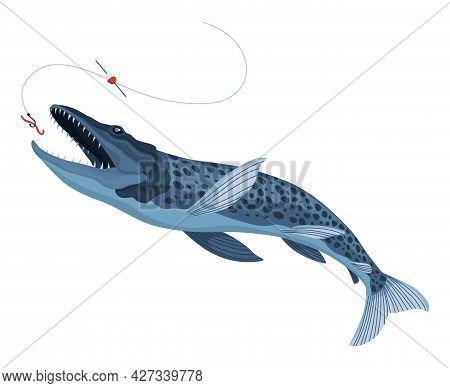 Predatory Fish Catch. Cartoon Fish Catching The Fishing Lure. Pike Fishing Is Jumping To Catch A Bai