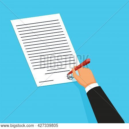 Notary Service Advertisement. Legal Document With Hand Witnessing Legal Documents By Signature. Colo