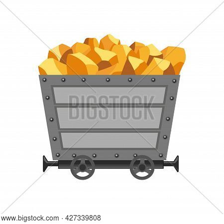 Metal Mine Cart Loaded With Gold. Cartoon Mine Trolley. Vector Design Illustration Isolated On White