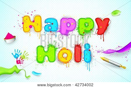 illustration of balloon and gulal with color splash of Holi