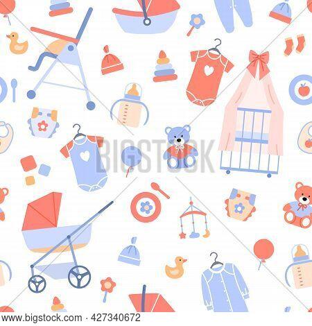 Baby Shower Seamless Pattern. Flat Baby Background Decoration. Pastel Backdrop For Celebration Print