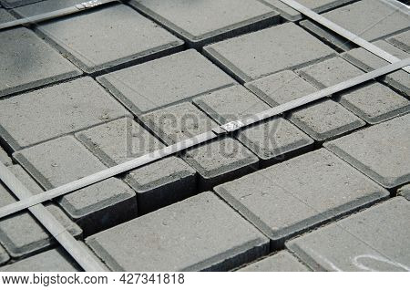 Abstract Background. Old Cobblestone Pavement Close-up. City
