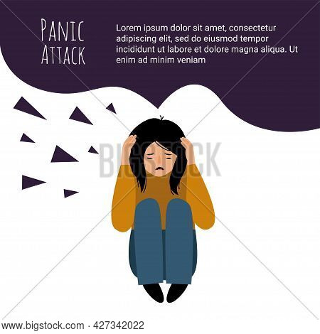 Female Character Panic Attack. Girl Afraid Isolated On White Background. The Girl Is Sitting On The