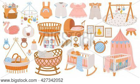 Newborn Accessories. Nursery Room Interior Elements, Furniture And Decor. Cradles, Toys And Baby Dre