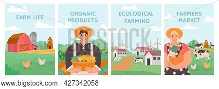 Farm Posters. Agriculture Field, Agronomy And Stock Concept. Farmers Grow Organic Nature Food. Farm