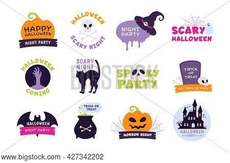 Halloween Logo. Trick Or Treat Labels And Sticker For Scary Holiday With Pumpkins, Skulls And Ghost.