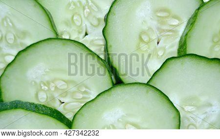 Fresh Cucumber Slices Background,fresh Slice Cucumber On White Background