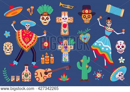 Day Of Dead Elements. Skeleton Characters In Mexican Clothes, Sugar Skull, Sombrero, Cactus And Tequ