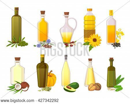 Cooking Oil Bottles. Natural Vegetable, Olive, Sunflower, Avocado And Coconut Virgin Organic Oils In