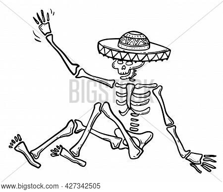 Doodle-a Postcard With A Mexican Skeleton In A Sombrero On A White Background. Vector Hand-drawn Fes
