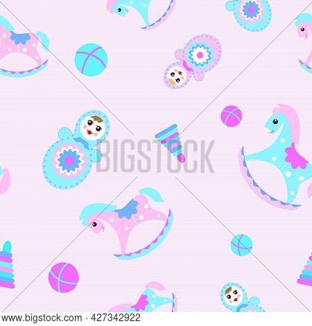 Seamless Children's Pattern With Horses, Tumbler Dolls And Balls On A Pink Background