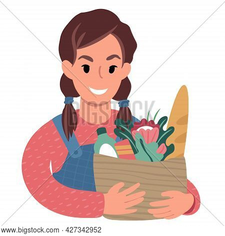 Caucasian Girl With A Paper Shopping Bag. Flat Style Illustration