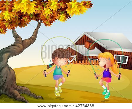 Illustration of two girls playing jumping rope at the backyard
