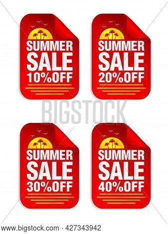 Summer Sale Red Sticker Set. Sale 10%, 20%, 30%, 40% Off. Stickers With Palms Icon. Vector Illustrat