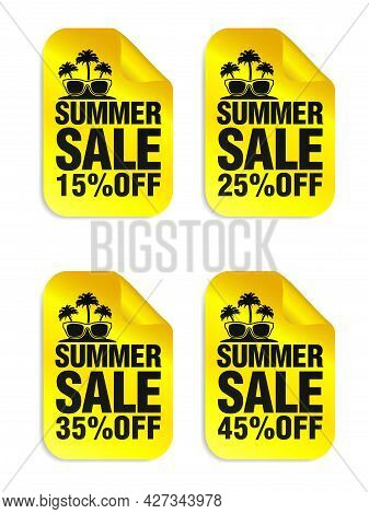 Summer Sale Yellow Stickers Set With Sunglasses And Palm Icon. Sale Stickers 15%, 25%, 35%, 45% Off.