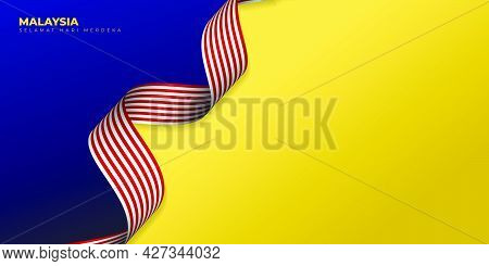 Blue Yellow Background With Waving Malaysian Flag Design. Malaysian Text Mean Is Happy Independence