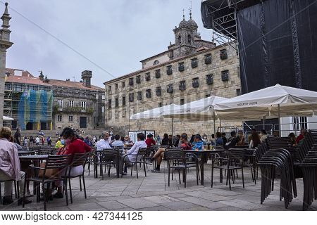 Santiago De Compostela (spain), July 20, 2021. People On A Terrace. The City Prepares The Festival O