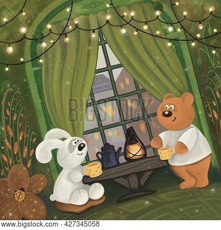 A Bear Sitting At Home Drinking Tea With Hare Infront Of The Window, Children Book Illustration, Pic