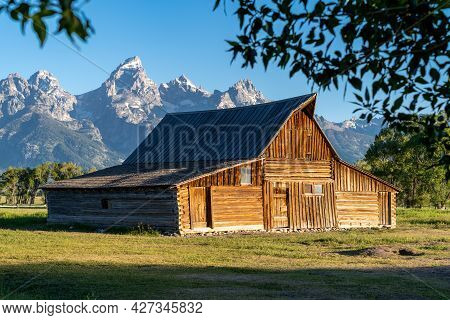 Ta Moulton Barn At Mormon Row In Grand Teton National Park On A Clear, Sunny Morning In Summer. Natu