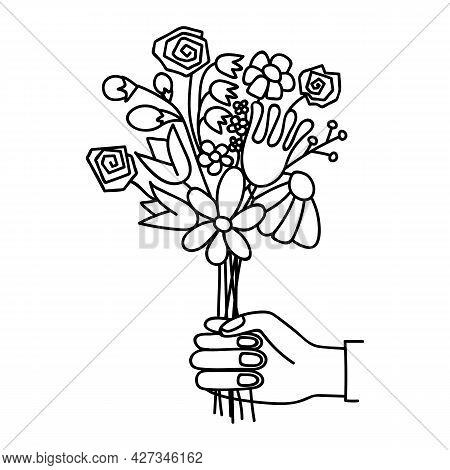 Hand Gives A Bouquet Of Flowers. Doodle Vector Illustration. Isolated On A White Background.