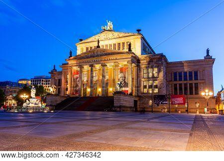 Berlin, Germany - May 2019: Concert Hall (konzerthaus) On Gendarmenmarkt Square At Night