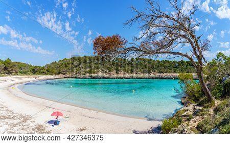 Landscape With Beach And Turquoise Sea Water On Cala Mondrago, Majorca Island, Spain