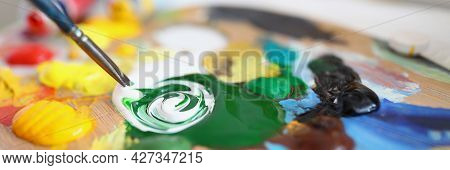 The Palette Contains A Mixture Paints For Painting