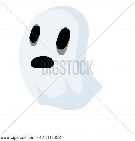 Ghost. Funny Flying Spirit.the Halloween Element. White Cute Character. Icon Of Death. Flat Cartoon