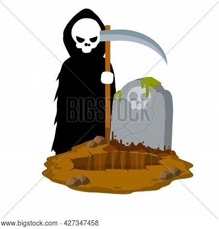 Death In Cemetery. Scary Character With Scythe. Ghost At Stone Tombstone. Grave And Funeral. Gravest