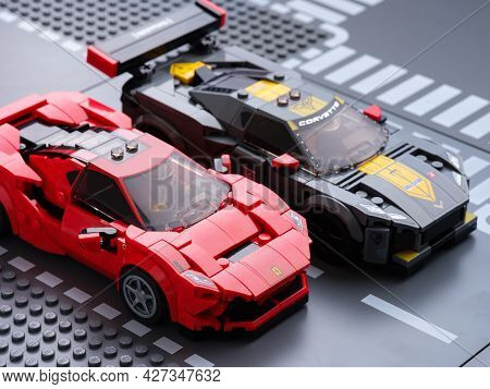 Tambov, Russian Federation - July 07, 2021 Lego Ferrari F8 Tributo And Lego Chevrolet Corvette C8.r