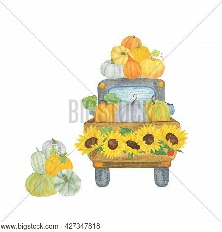 Truck Loaded Of Pumpkins Decorated With Sunflowers Watercolor Illustration, Traditional Thanksgiving