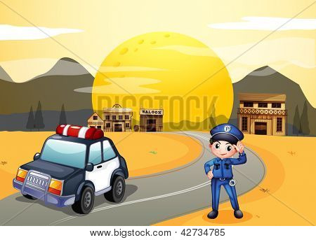 Illustration of a policeman at the street