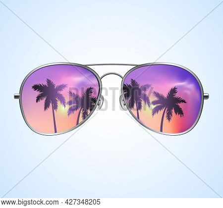 Aviator Sunglasses With Palms Reflection Vector Illustration Background. Pink Sunset