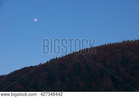 Autumn Mountains, Evening Moon. Night With The Moon Blue Sky In Autumn. Beautiful Nature, Autumn Lan