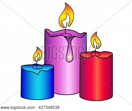 Candles. Three Multi-colored, Wax, Holiday Candles Of Different Sizes Are Burning - Vector Full Colo