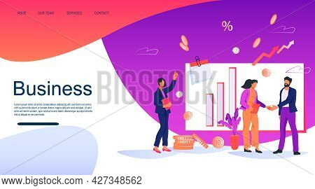 Business Process And Successful Deal Concept Of Website Banner With People Characters. Business Conc