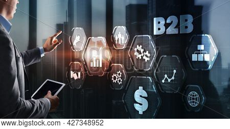 B2b Business Technology Marketing Company Commerce Concept. Business To Business